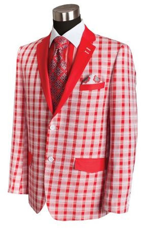 Bruno Conte Mens Red Plaid Blazer Fashion MC021 Size 3XL Final Sale - click to enlarge