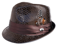 Bruno Mens Brown Vegan Leather Snake Print Stingy Brim Hat FD-250