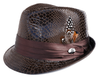 Bruno Mens Brown Vegan Leather Snake Print Stingy Brim Hat FD-253 Size L/XL