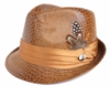 Bruno Mens Cognac Vegan Leather Snake Print Stingy Brim Hat FD-250