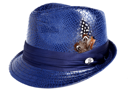 Bruno Mens Royal Vegan Leather Snake Print Stingy Brim Hat FD-250 - click to enlarge