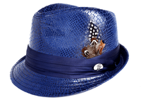 Bruno Mens Royal Vegan Leather Snake Print Stingy Brim Hat FD-250