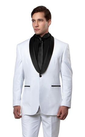 Bryan Michael White Black Prom Tuxedo Slim Fit MT146S-03