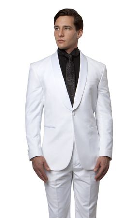 Bryan Michael All White Slim Fitted Tux Shawl Collar MT146S-02 - click to enlarge