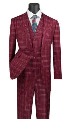 Burgundy Plaid Suit 3 Piece 1920s Lapel Vest Vinci V2PD-1