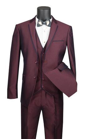 Burgundy Skinny Fitted Prom Suit 3 Piece Fancy Trim USVD-2