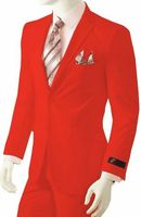 Mens Bright Red Suit Vittorio St. Angelo A72TE Size 46S Final Sale