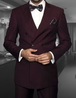 Mens Burgundy Double Breasted Suit DC900-1 Size 38R Final Sale