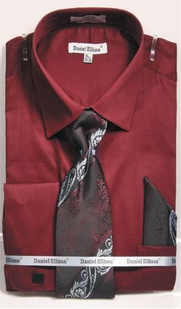 Burgundy Spread Collar Shirt With Ties French Cuffs (100% Cotton) DE DS3798P2