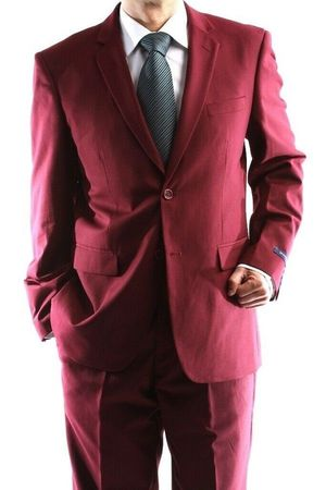Burgundy Suits by Lucci 2 Button Single Breasted Mens Suit 2PP