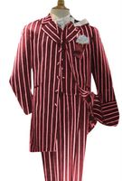 Burgundy White Stripe Zoot Suit 3 Piece Alberto Zoot-200