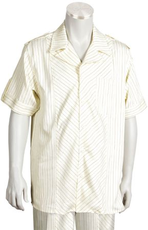 Canto Big and Tall Cream/Rust Diagonal Stripe Walking Suit 697