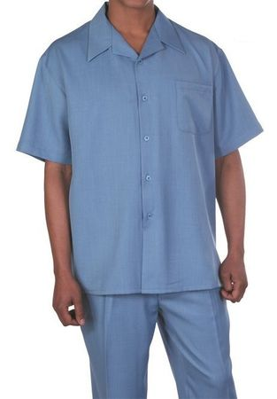 Big Size Men's Walking Suit Blue Short Sleeve Outfit Fortino 2954G