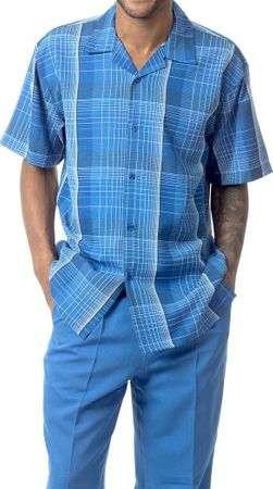 Mens Dress Outfit by Montique Bright Blue Plaid Casual Set 1741 Size M