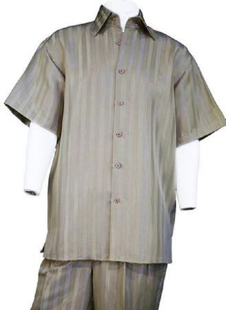 Canto Taupe Shiny Satin Stripe Casual Walking Suits 6159
