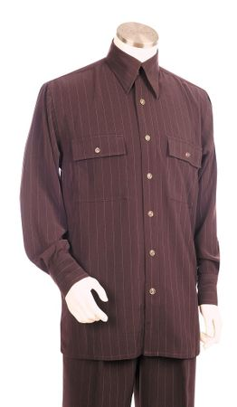 Canto Big and Tall Pinstripe Long Sleeve Walking Suits 867