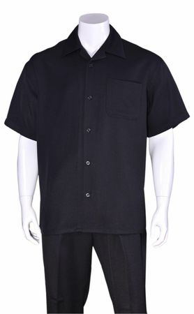 Big Size Men's Walking Suit Navy Short Sleeve Outfit Fortino 2954G