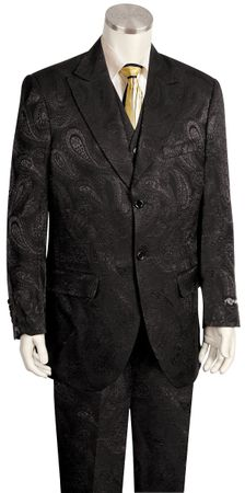 Canto Black Brown Paisley Wide Leg Suit 8359 - click to enlarge