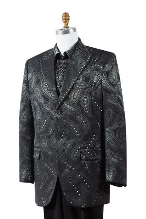 Canto Black Paisley 3 Piece Fashion Mens Suit 8383 - click to enlarge