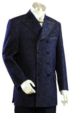 Canto  Blue 8 Button Double Breasted Urban Style Denim Suit 8305
