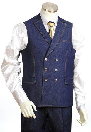 Canto Mens Blue Double Breasted Denim Vest Outfit 9028 Size 40 Long Final Sale