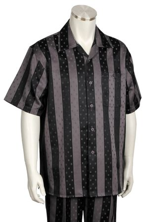 Canto Bold 2 Tone Stripe Black/Grey Short Sleeve Walking Sets 691