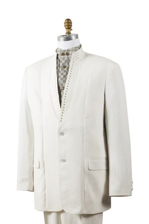 Canto Off White Mandarin Collar Suit Rhinstone Fashion 8390 - click to enlarge