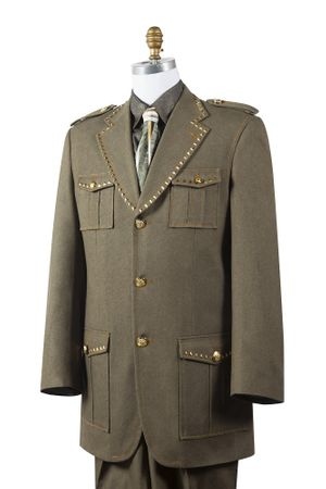 Canto Mens Olive Military Style Denim Fashion Suit 8389