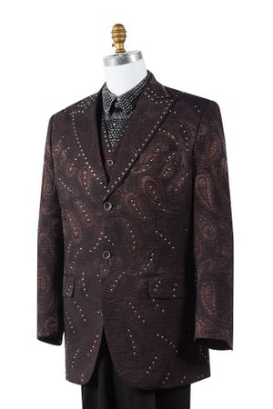 Canto Brown Paisley 3 Piece Fashion Mens Suit 8383