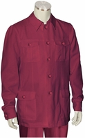Canto Burgundy Leisure Suit Pocket Front Jacket 8364