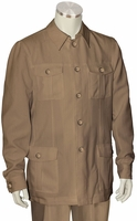 Canto Camel Leisure Suit Pocket Front Jacket 8364