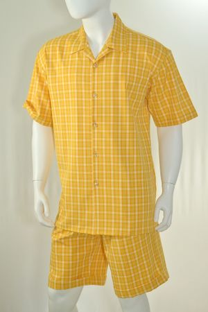 Christi Mens Gold Plaid Casual Short Set 41402