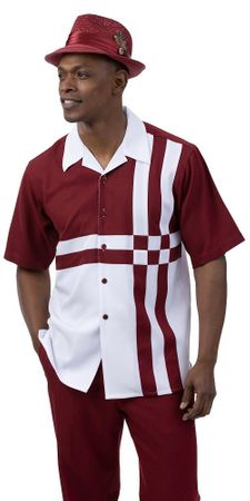 Montique Short Set Men's Burgundy White Block Pattern 7078
