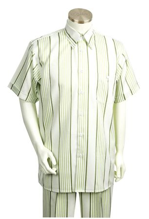 Canto Fancy Stripe Mens Short Sleeve Walking Suits 674