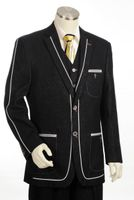 Canto Fancy Trim 3 Piece Denim Suit Black 8352