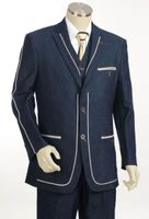 Canto Fancy Trim 3 Piece Denim Suit Blue 8352