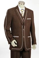 Canto Fancy Trim 3 Piece Denim Suit Brown 8352