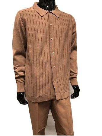 Men's Camel Stripe Button Front Sweater and Pants Set WS838