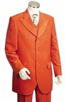 Canto Mens Orange Wide Lapel 3 Piece Fancy Style Suit 8306 Size 46 Reg Final Sale