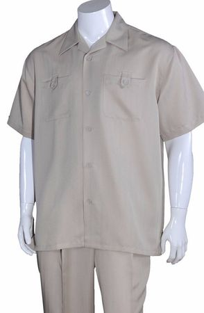 Summer Walking Suits Mens Tan Short Sleeve Outfit M2963