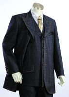 Canto Urban Fashion Jean Suit Leather Trim Buttons 8307