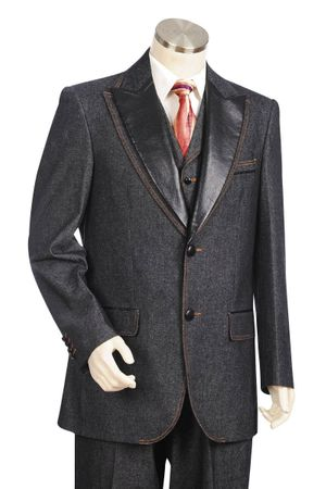 Canto Leather Collar Jean Suit Black 8322
