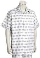 Canto Leisure Suit Mens Silver Checker Short Sleeve Walking Set 694