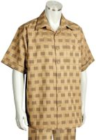 Canto Leisure Suit Mens Beige Checker Short Sleeve Walking Set 694