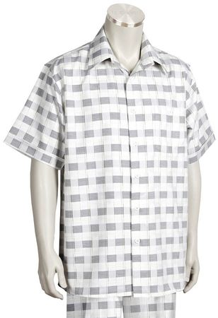 Canto Leisure Suit Mens Silver Checker Short Sleeve Walking Set 694 - click to enlarge