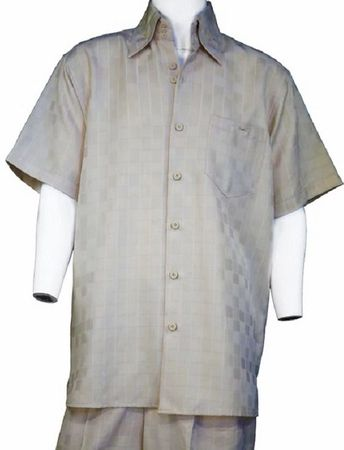 Canto Leisure Suit Mens Taupe Checker Pattern Short Sleeve Walking Set 6178