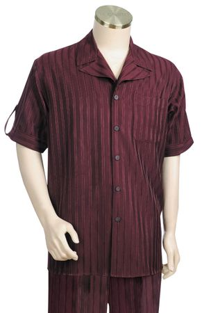 Canto Leisure Suit Mens Burgundy Fancy Stripe Short Sleeve Walking Set 683