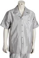 Canto Leisure Suit Mens Silver Shiny Stripe Short Sleeve Walking Set 693