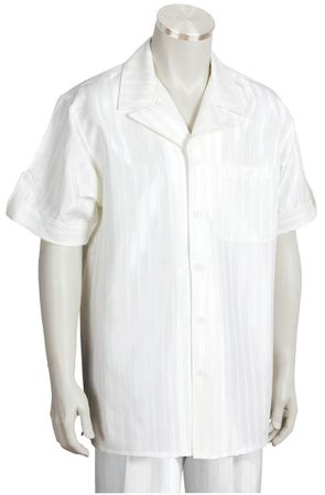 Canto Leisure Suit Mens Ivory Shiny Stripe Short Sleeve Walking Set 693
