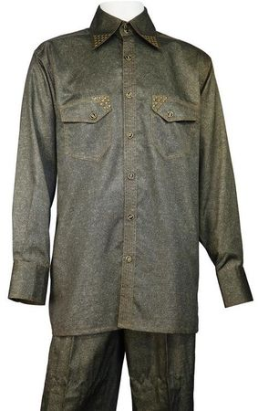Canto Long Sleeve Olive Sharkskin Walking Suits 889